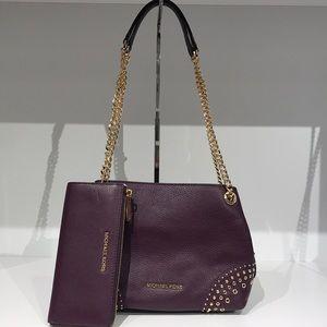 Michael Kors 2pc Jet Set chain shoulder bag wallet
